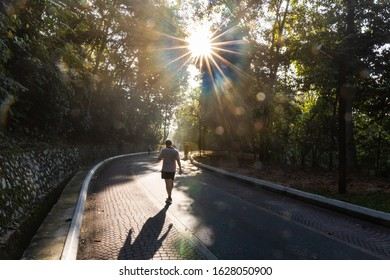 People exercise brisk walk in natural park with morning sun rays in Malaysia