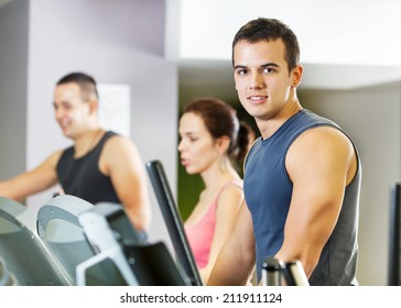 People exercising in a gym