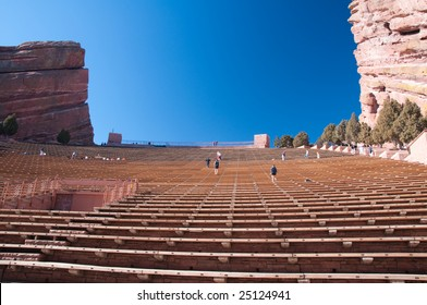 People exercising at the Red rocks concert theater in Denver, Colorado
