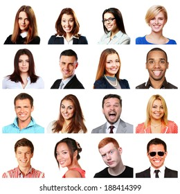 People faces collage. Men and women portraits isolated. Diversity.