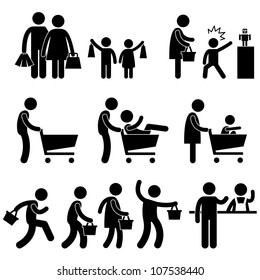 People Family Shopping Shopper Sales Promotion Icon Symbol Sign Pictogram