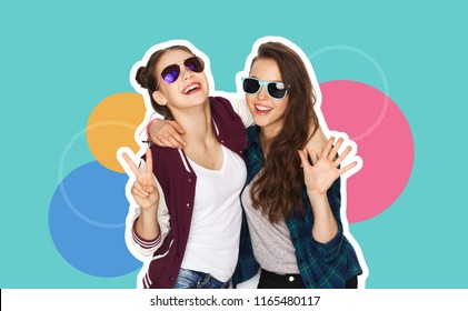 people, fashion and friendship concept - magazine style collage of happy teenage girls in casual clothes and sumglasses over colorful background