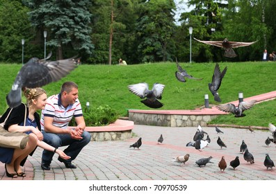People feeding pigeons with bread in a park