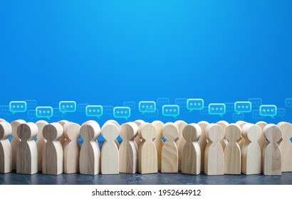 People figures with comment clouds above their heads. Social communication. Information exchange. Rumors and gossip. Talk and chat. Discussion and dialogue. Public opinion poll. Dispute settling