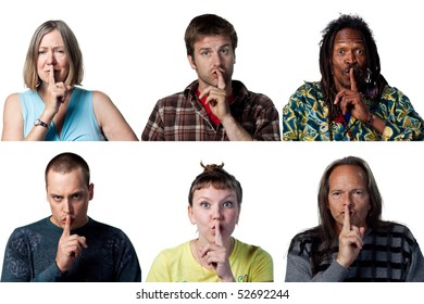 People with fingers on their lips, be quiet