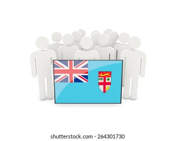 People with flag of fiji isolated on white