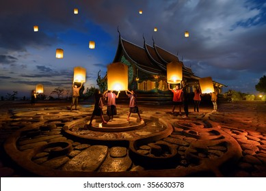 People floating lamp in yeepeng festival at pagoda tree glow temple