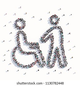 A lot of people form a disabled person