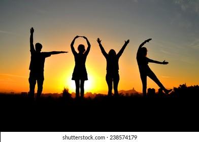 People forming Love word