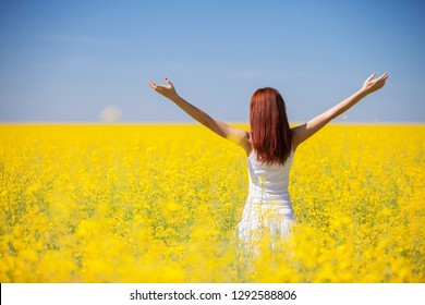 People freedom success concept. Happy woman in the field with flowers at sunny day in the countryside. Nature beauty background, blue sky and yellow flowers. Outdoor lifestyle.
