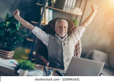 People freelancer entrepreneur exercise morning holiday vacation snooze celebrate win winner closed eyes waistcoat person concept. Excited carefree peaceful calm gray-haired man having a rest