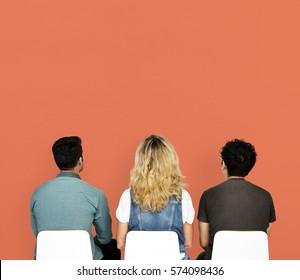 People Friends Studio Shoot Backside with Orange Background
