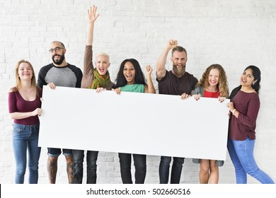 People Friendship Arms Raised Celebration Happiness Copy Space Banner Concept