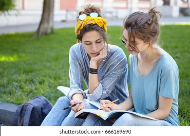 People, friendship, studying, lifestyle concept. Female students wearing casual clothes sitting at bench outdoor having deep looks in books. Cute female explaining something to her friend pointing