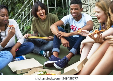 People Friendship Togetherness Eating Pizza Youth Culture Concept
