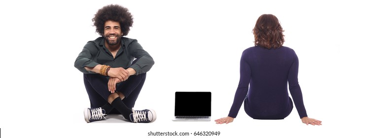 People in front of a white background