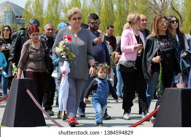 People in the funeral procession  Nagorno-Karabakh, Armenia, 24 April 2019.Torchlight processions in memory of the Armenian genocide victims.