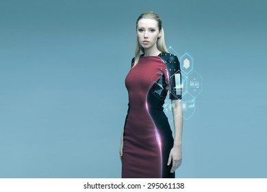 people, future technology and science concept - beautiful futuristic woman with virtual projection over gray background
