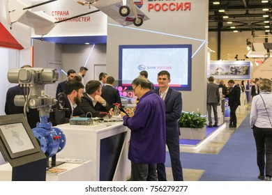 People at the gas forum. St. Petersburg, Russia - 3 October, 2017. Participants and visitors of the annual St. Petersburg Gas Forum.