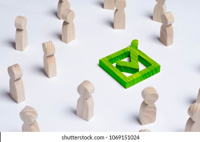 People gathered around the checkbox on a white background. People make a group choice. Democratic elections, collective decision and choice, referendum. Concept forum of people. Green Check mark