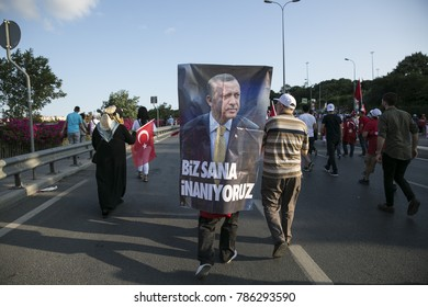 People gathered on the Bosphorus Bridge and protest coup attempt 1st anniversary on the 15th of July 2017 istanbul Turkey. 15.07.2017