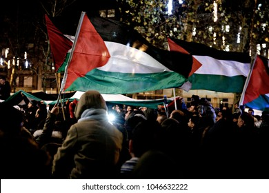 People gathered outside the U.S embassy to protest against U.S. President Donald Trump's recognition of Jerusalem as Israel's capital in Brussels, Belgium on Dec. 8, 2017.
