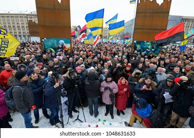 People gathered for a rally on Majdan Nezalezhnosti (Independance square) protesting against policy of President of Ukraine Petro Potoshenko. March 18, 2018. Kiev, Ukraine