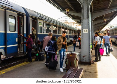 People getting off the train at Bucharest North Railway Station (Gara de Nord) in Bucharest, Romania, 2019.