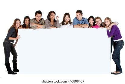 People with a giant banner isolated over a white background