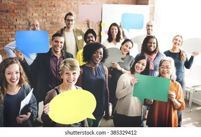 People Global Communications Speech Bubble Copy Space Concept