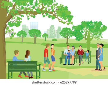 People go for a walk in the park, 3D illustration