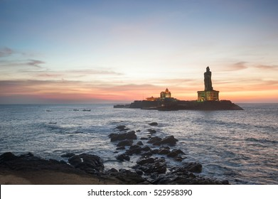 People greet the sunrise in Kanyakumari the southernmost point of the Indian subcontinent, Tamil Nadu, India