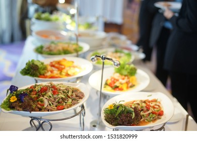 people group catering buffet food indoor, with food and beverage,Eat together For business meetings.