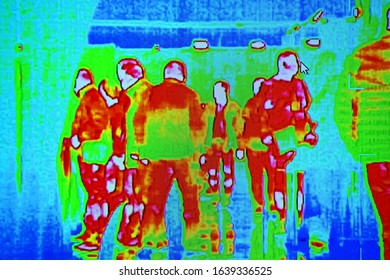 people group infected by influenza corona virus under thermal imaging camera aka thermal unit, modern airport crowd healthcare diversity