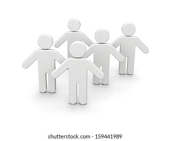 People group. Social network gathering concept. 3d image