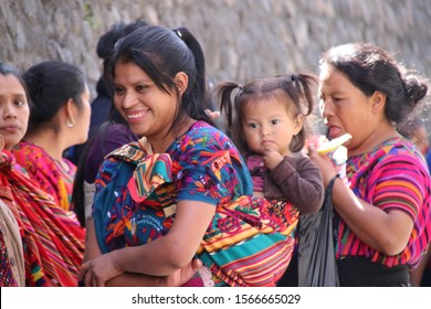 The people of Guatemala. A group of local women wearing traditional clothes in Chichicastenango.
