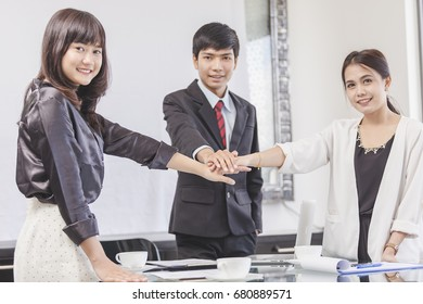 People Hand Assemble Corporate Meeting. ,Teamwork Concept