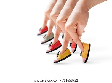 People hand finger walking with shoe, Unity concept