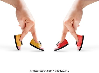People hand finger walking with shoe  together in relationship  concept