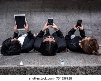 People hands addicted by mobile smart phone - Technology concept with connected men and women