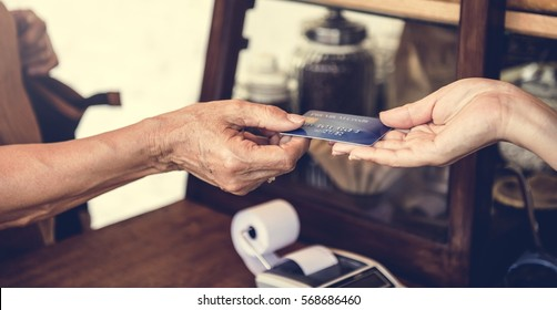 People hands credit card payment transaction