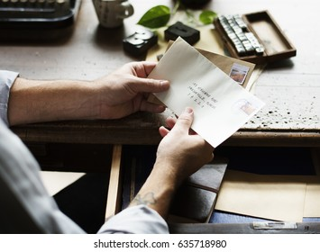 People Hands Holding Envelope Letter Communication