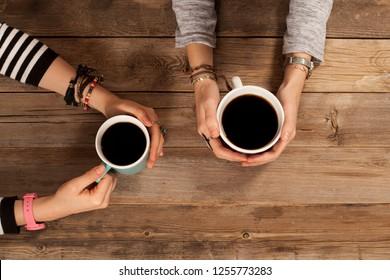 people hangout drinking coffee