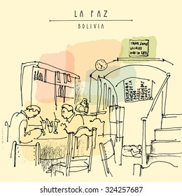 """People having breakfast at a cafe in La Paz, Bolivia. Travel sketch drawing. Vintage postcard. Entrance, table, stairs, """"We are all equal in the eyes of the law"""" sign in Spanish and restaurant menu"""