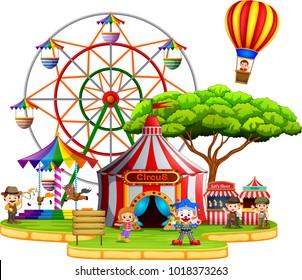 People having fun in circus