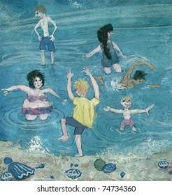 people having fun on a  beach naive illustration