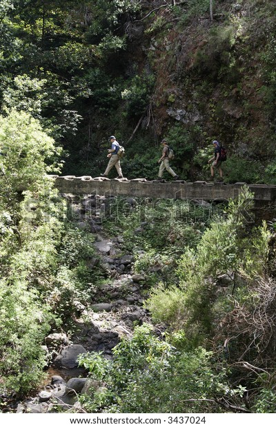 People are hiking over a small bridge on Madeira Island