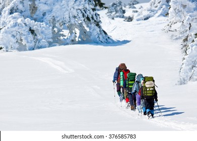 people hiking in winte mountains