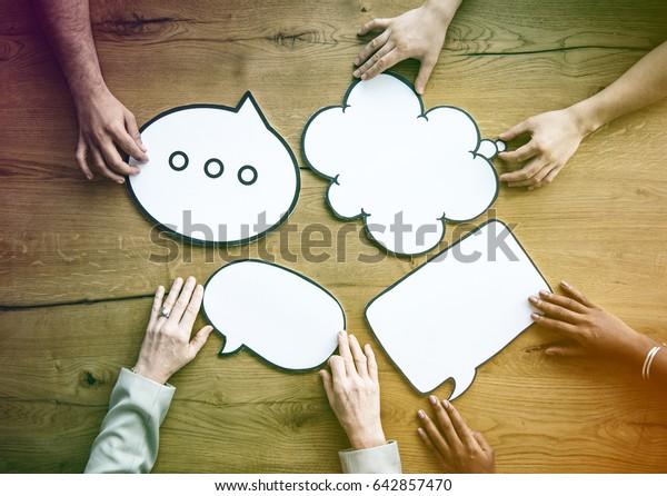 People Hold Blank Speech Bubble Copy Space