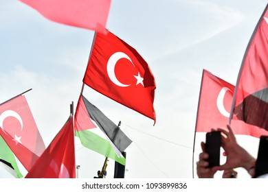 People hold Turkish and Palestinian flag during a rally in support of Palestinian people in 18 May 2018, Istanbul, Turkey